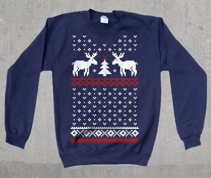 Moose Ugly Christmas Sweater printed Sweatshirt-  Warm and Fuzzy