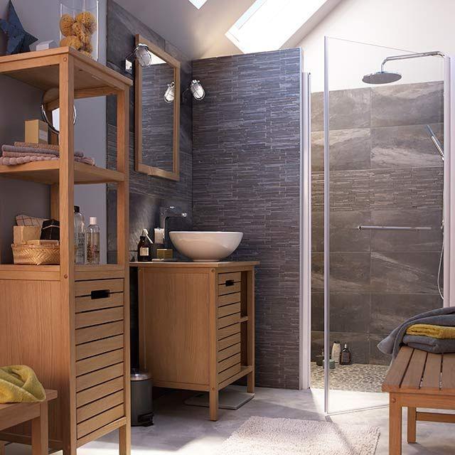 Meuble de salle de bains chêne 65 cm Tinn - CASTORAMA bathrooms - Renovation Meuble En Chene