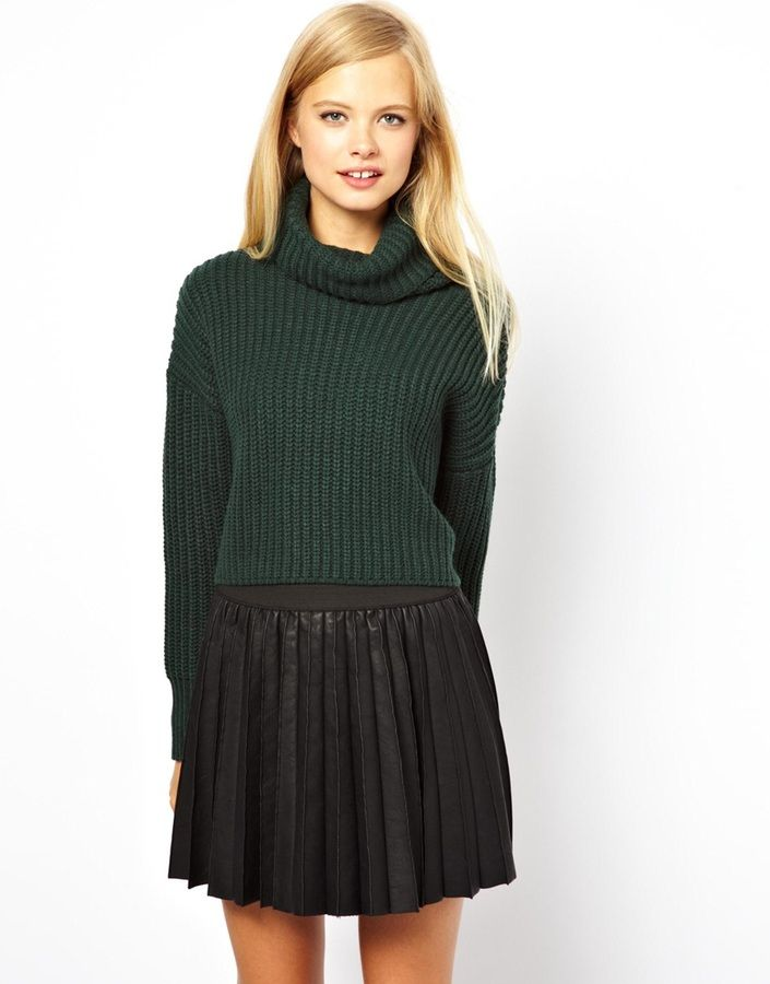 fa65085b90e ASOS Cropped Sweater With Roll Neck In Chunky Rib | Sweaters ...