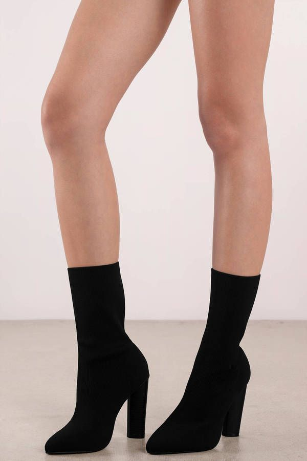 mid block heel sock boots