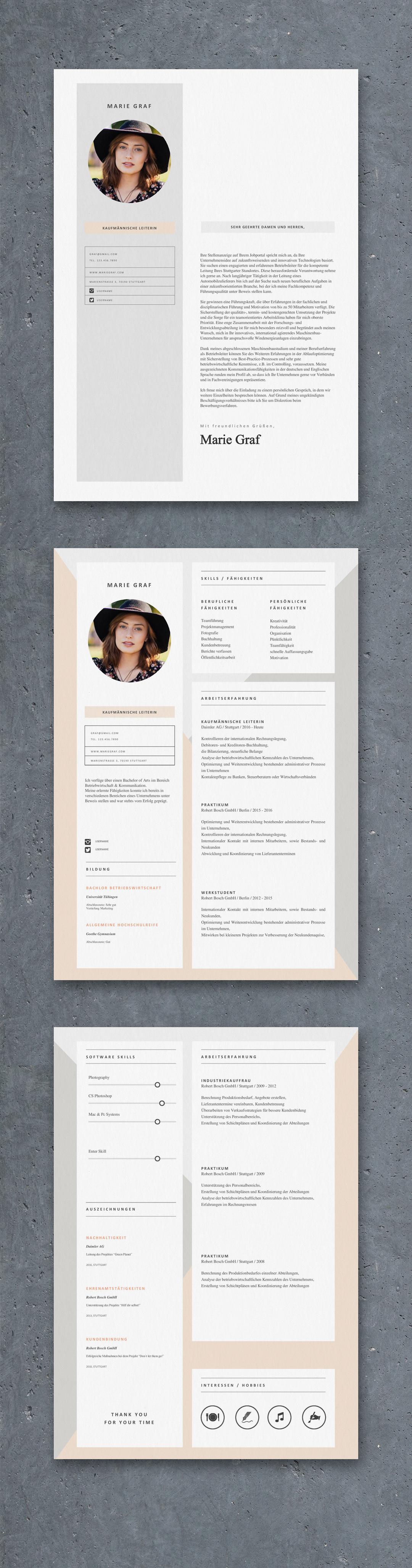 Mrs. Graf | einfaches Anschreiben, einfacher Lebenslauf und Anschreiben