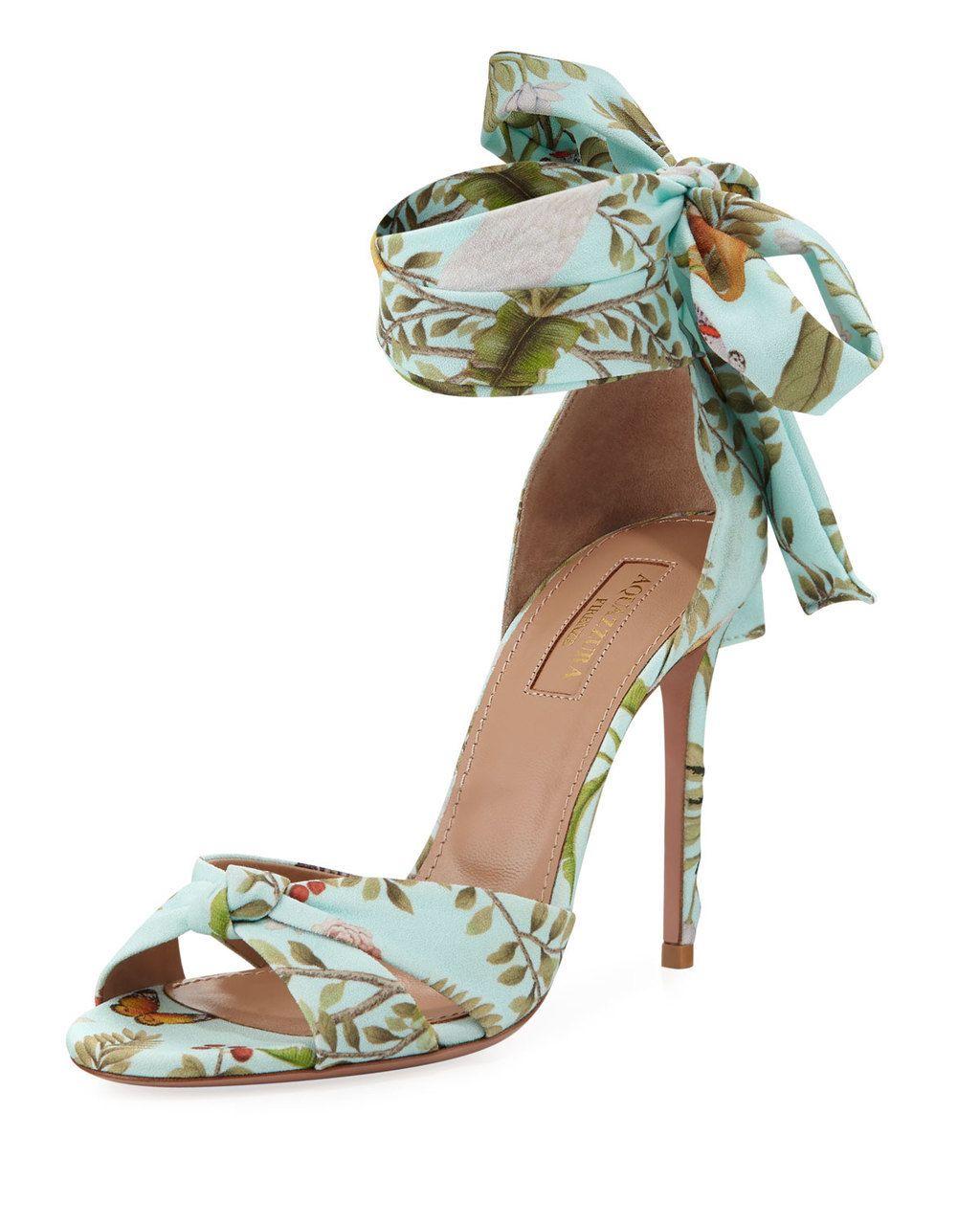 AQUAZZURA de Gournay Jacquard Ankle Wrap 105mm Sandals Blue