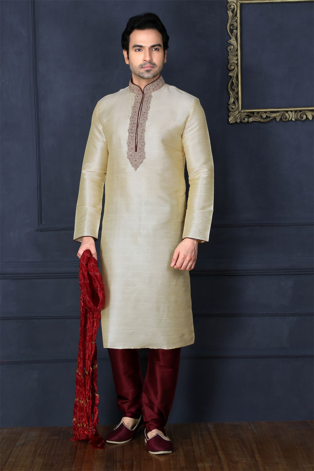 ef0dae02ba Dress up with the #Classic Gold Art Banarasi Silk Casual Kurta Pajama at  #NihalFashions, with 10% Discount & Free shipping all over India.
