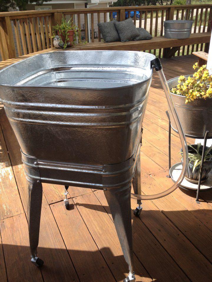 Vintage Wheeling Metal Galvanized Square Wash Tub Beer Bucket Garden Plant Beer Bucket Bucket Gardening Wash Tubs