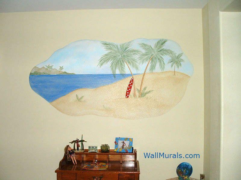 surf scene wall mural ocean murals beach themed undersea animals