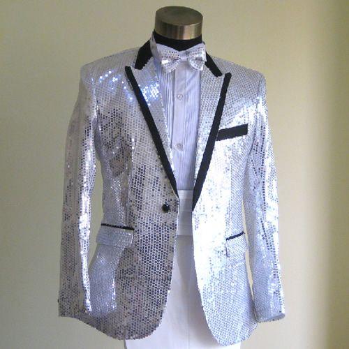 Hot Silver Sequin Slim Fit Fancy Wedding Prom Tuxedo Suits Men Costume  SKU-123129 545ec25f1b51