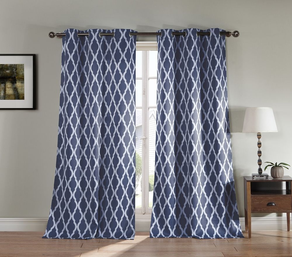 Pair of Two Blackout Window Panel Curtains: Slate Blue ...