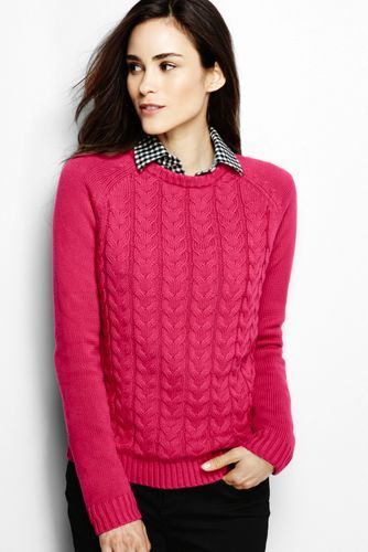 Women S Drifter Cable Sweater From Lands End Size Tall
