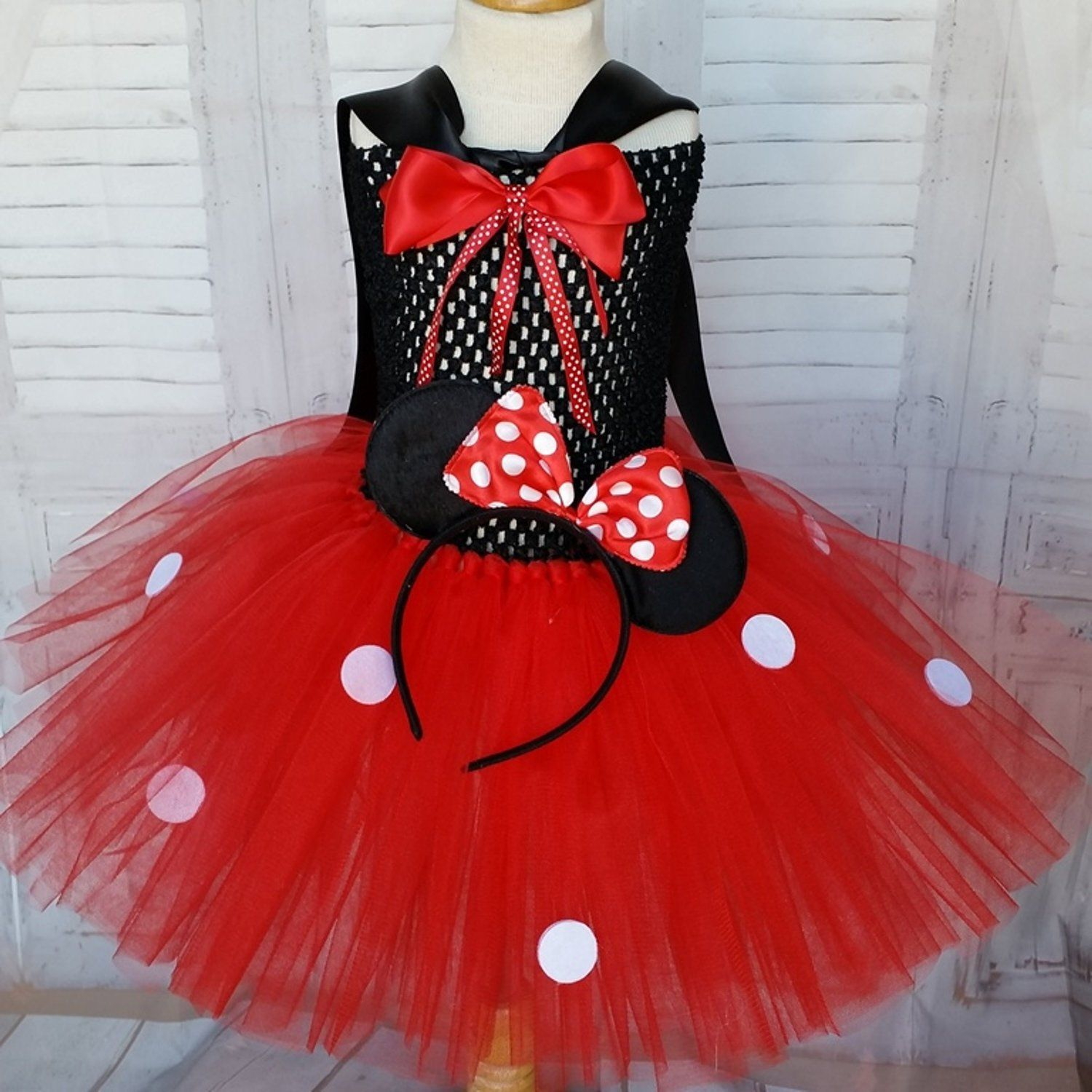 01cda6b616da3 Red with white dots strapless stretch mouse tutu dress. Baby and ...