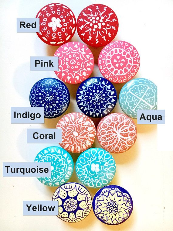 Pin On Beads More I, Hand Painted Wood Cabinet Knobs