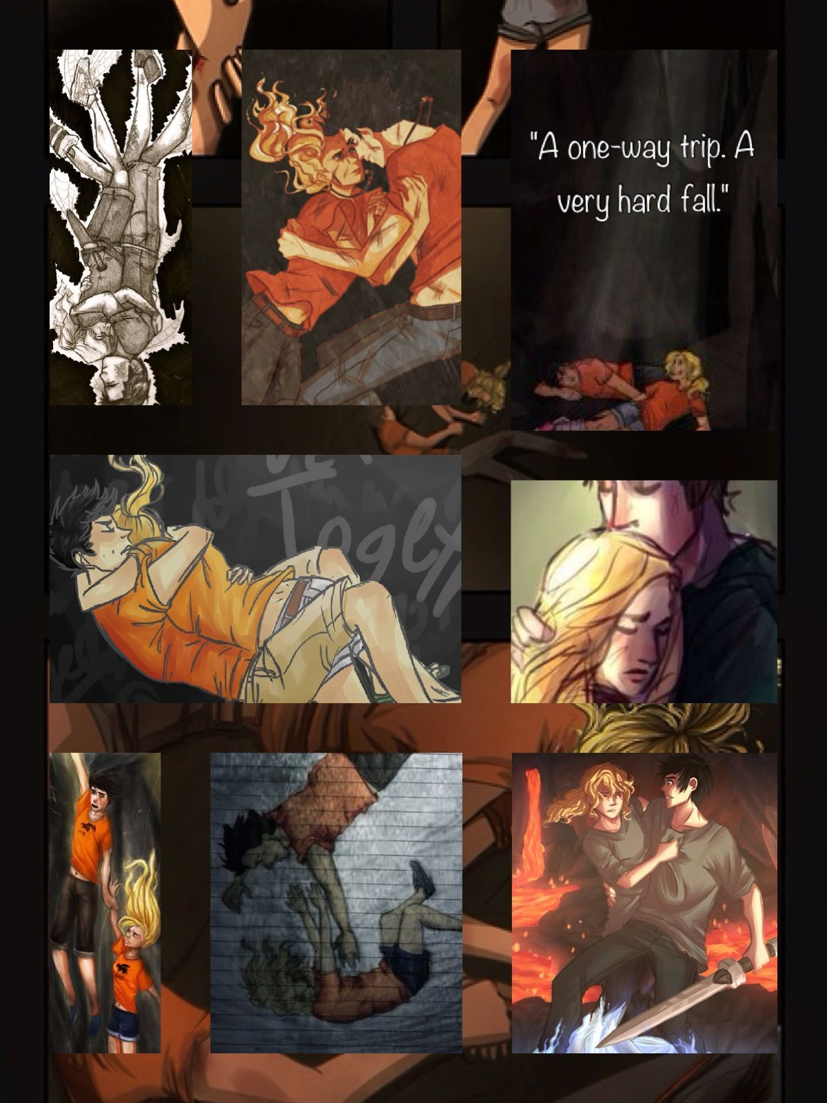 Percy and annabeth falling into tartarus drawing