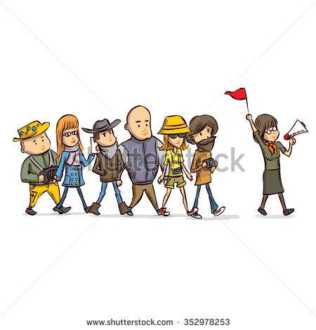 Tour Guide With Group Of Turists Hand Drawn Cartoon Vector Illustration À¸à¸²à¸Š À¸ž