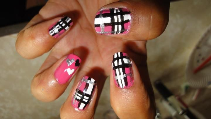 pink with black white and silver plaid...accent heart nail with same colors :0)