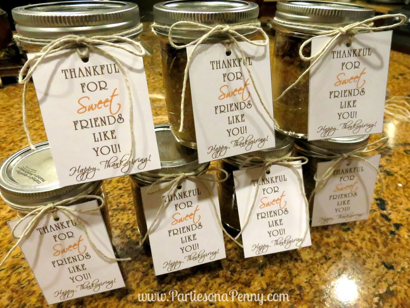 Parties On A Penny Pumpkin Pecan Pie in a Jar Thanksgiving Gift