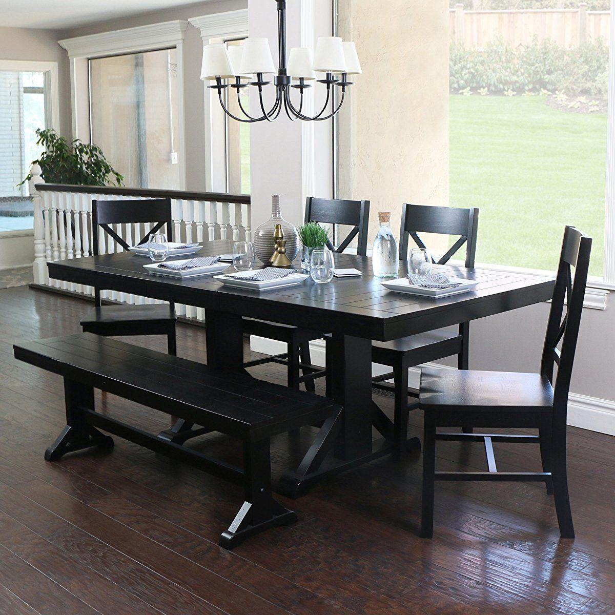 We Furniture 6 Piece Black Solid Wood Dining Set Black Dining Room Table Black Dining Room Dining Table Black