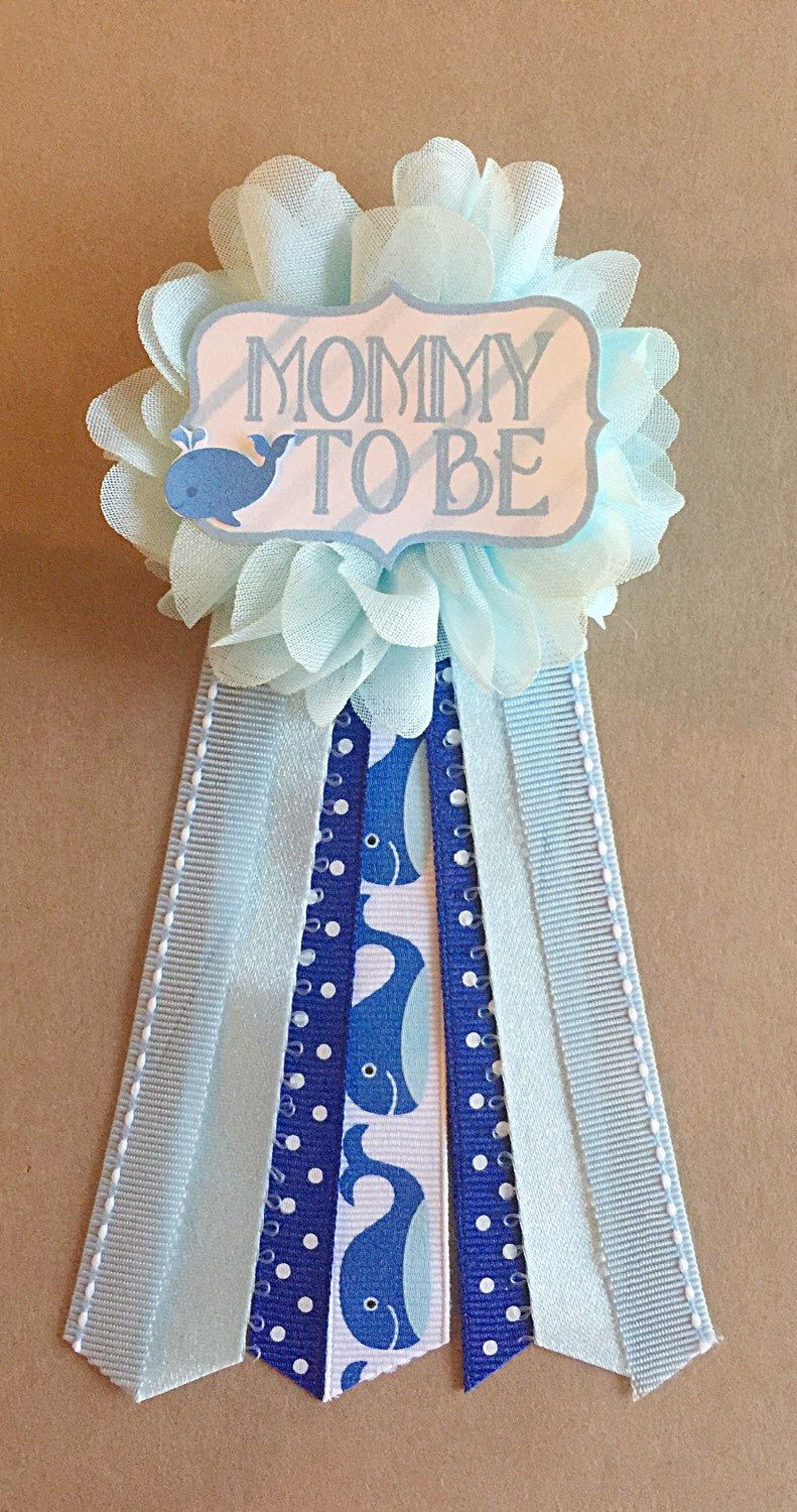 blue whale baby shower mommytobe flower ribbon pin corsage mommy mom new