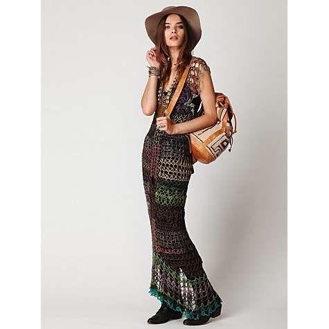 Chorrilho de ideias: Vestido comprido roxo em crochet