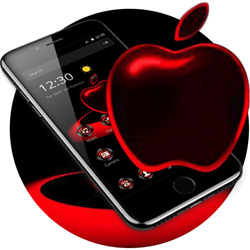 Free Download Red Neon Apple Dark Theme 1.1.4 APK
