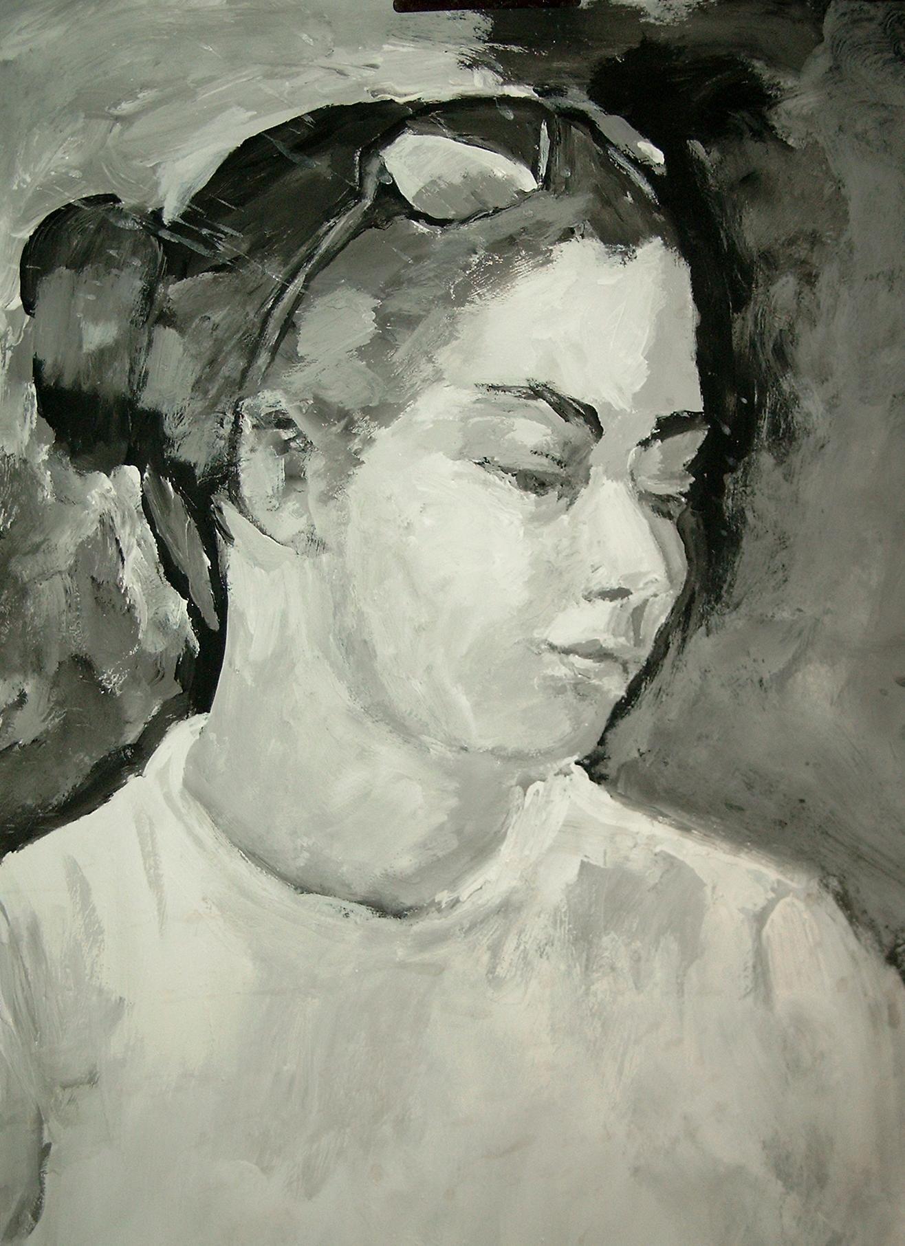 Acryl s/w - Porträt junge Frau 3 - v. skonea