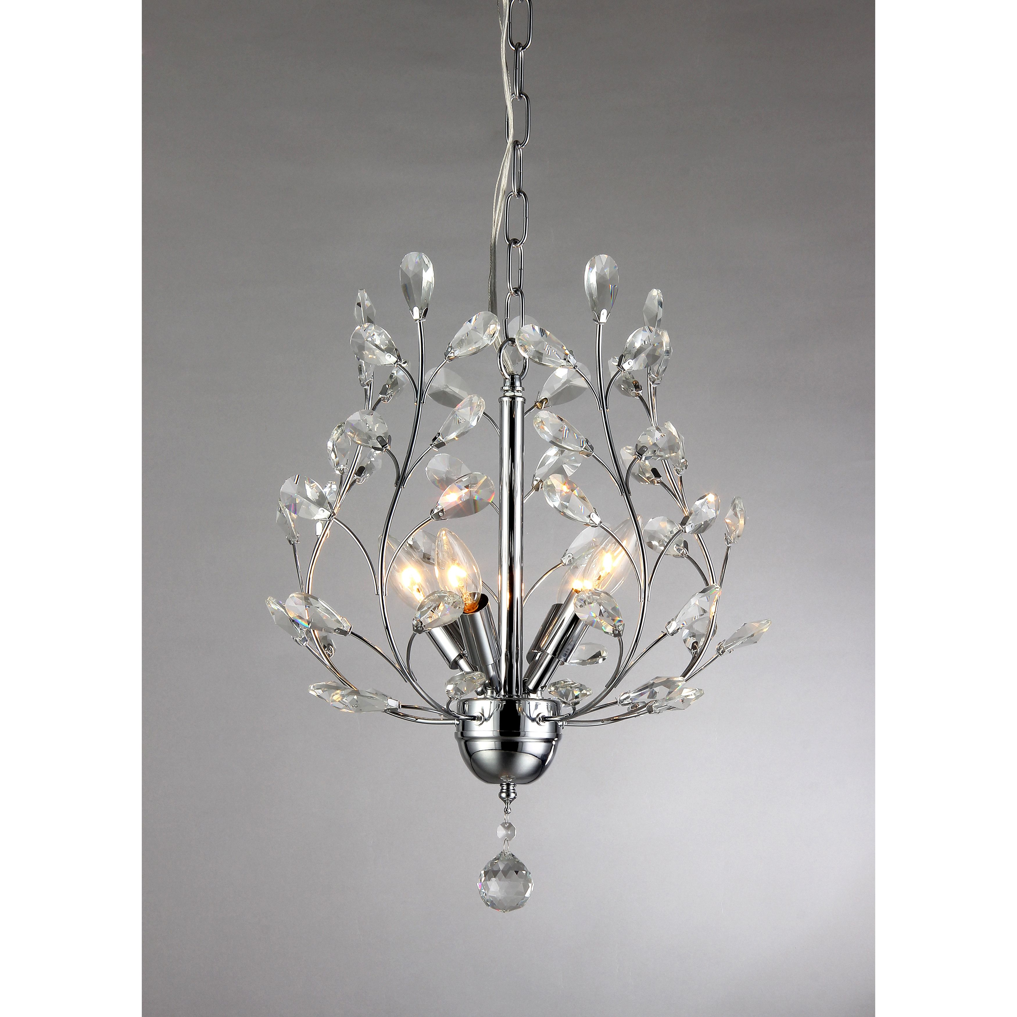 This is chrome finished chandelier has leaf like crystals to