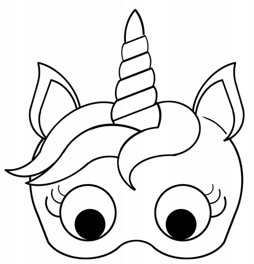 Monster image within free printable unicorn mask