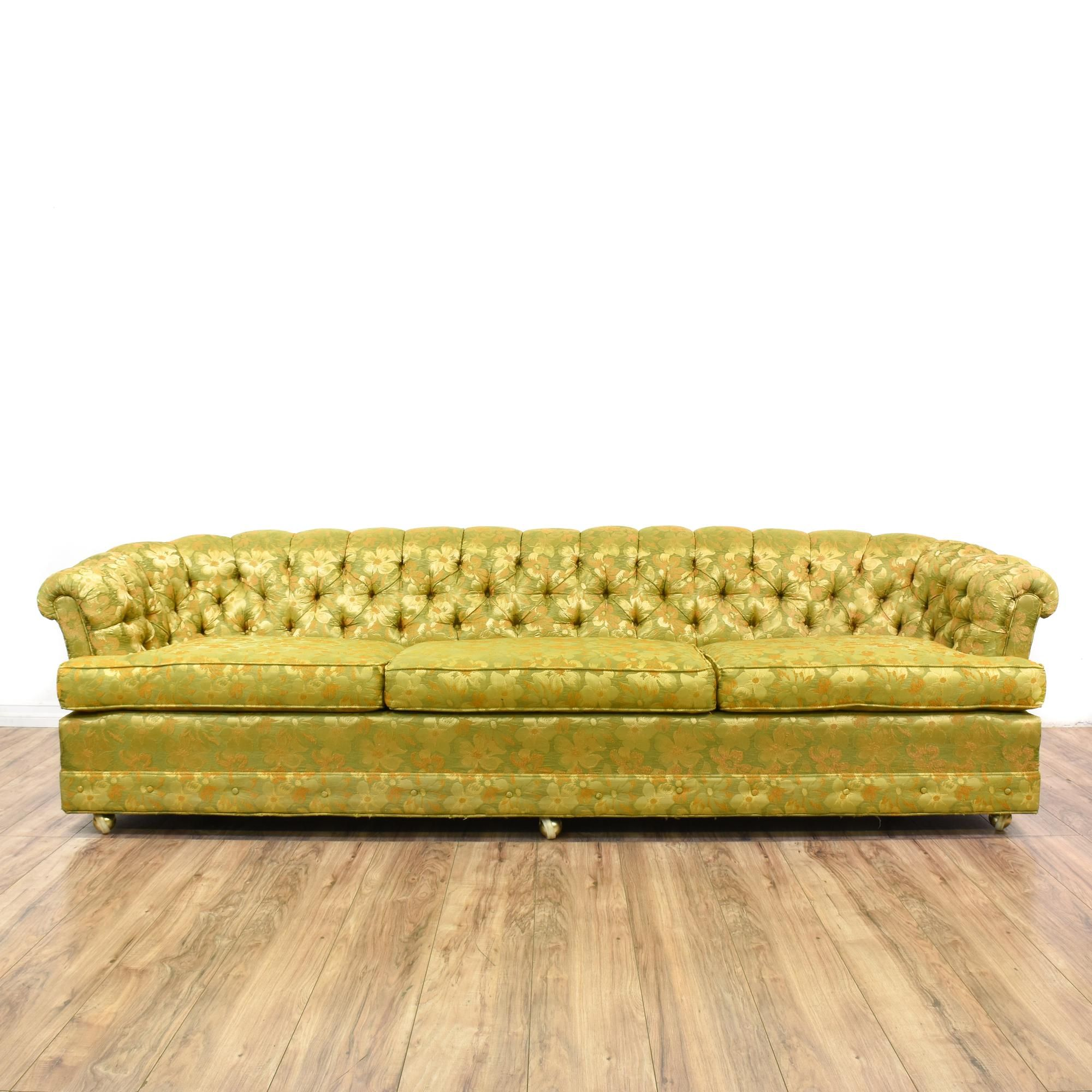 This Long Chesterfield Sofa Is Upholstered In A Durable Silk Like Floral  Print With A