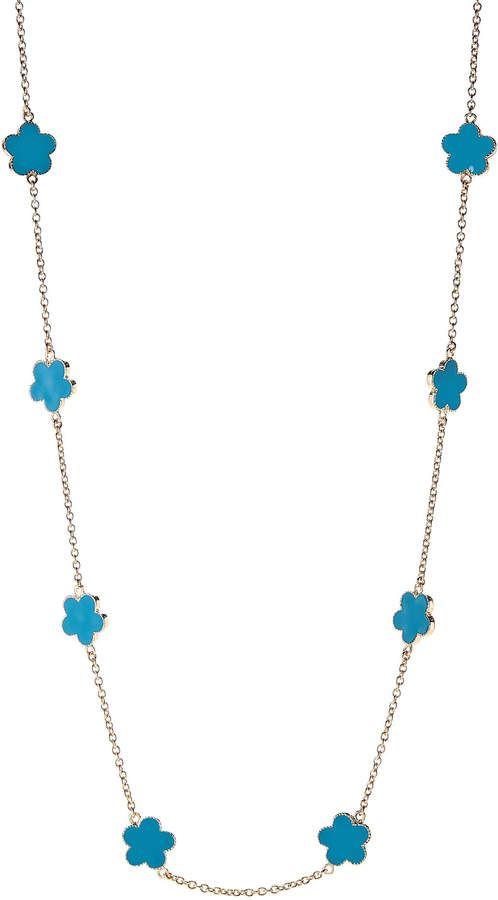 404b91cab Rouge Jardin Gold-Tone & Teal Clover Necklace