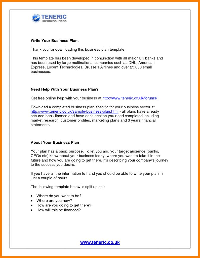 Business Plan Format Doc Plans Sample Form Templates Word