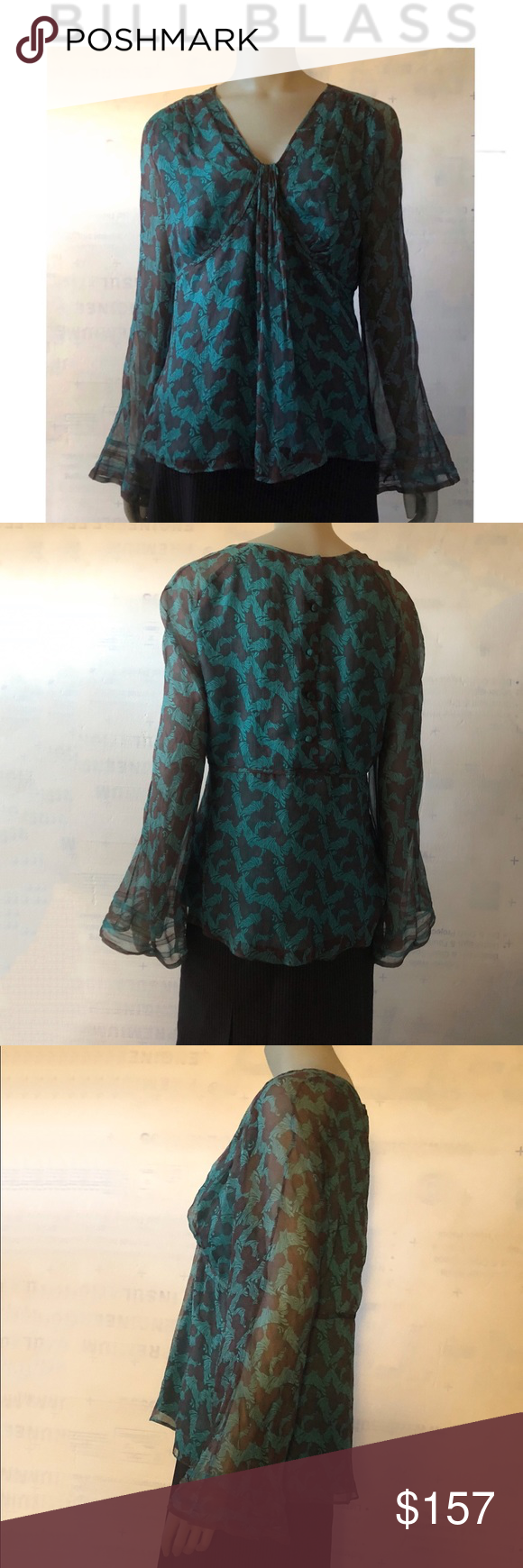 Bill Blass New York Chris Benz Flutter Top Blouse