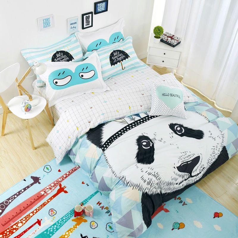lovely panda cartoon bedding sets 100% cotton flat sheet linens ...