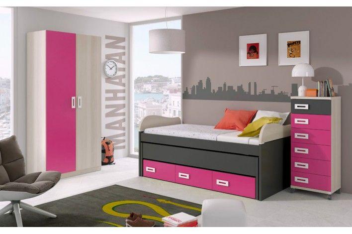 Una cama dos camas cajones contenedores armario for Camas dos en una