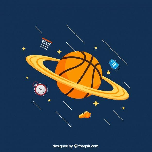 バスケットボール惑星の背景 無料ベクター | Free Vector #Freepik #freevector #background #sport #fitne...