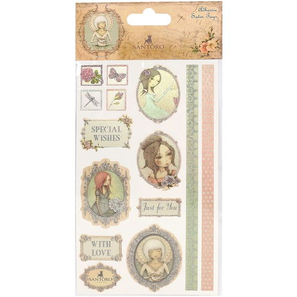 Found it at Blitsy - Available Now! Santoro Mirabelle 3 Adhesive Satin Tags 11Pack - With Silver Glitter