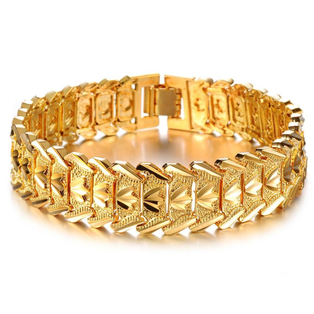 OPK JEWELRY Hot Sale Luxury Gold Color Men\'s Chain Bracelet Wide ...