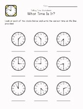 Learning Time Worksheets Printable