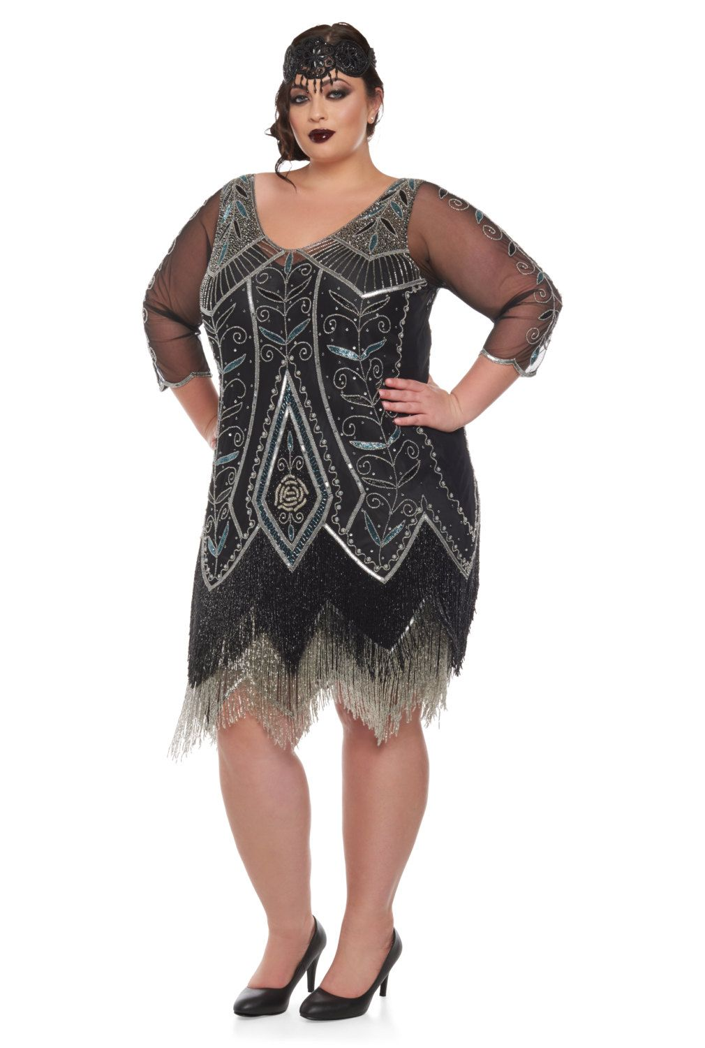 Plus Size Scarlette Black silver Flapper Dress with sleeves Slip ...