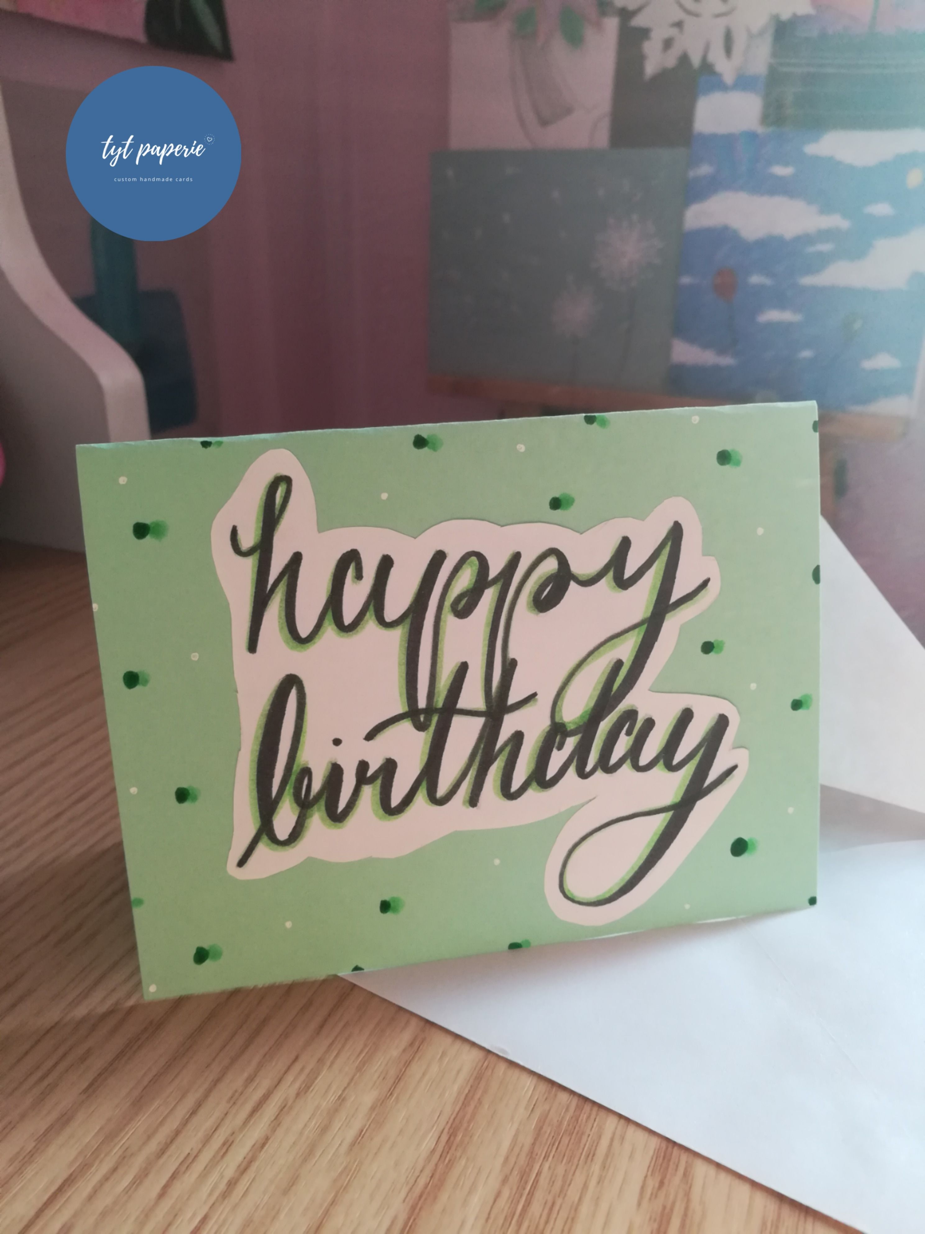 Green Polka Dots Happy Birthday Card Calligraphy Greeting Card Green Greeting Card Unisex Birthday Card Birthday Cards Happy Birthday Cards Custom Birthday