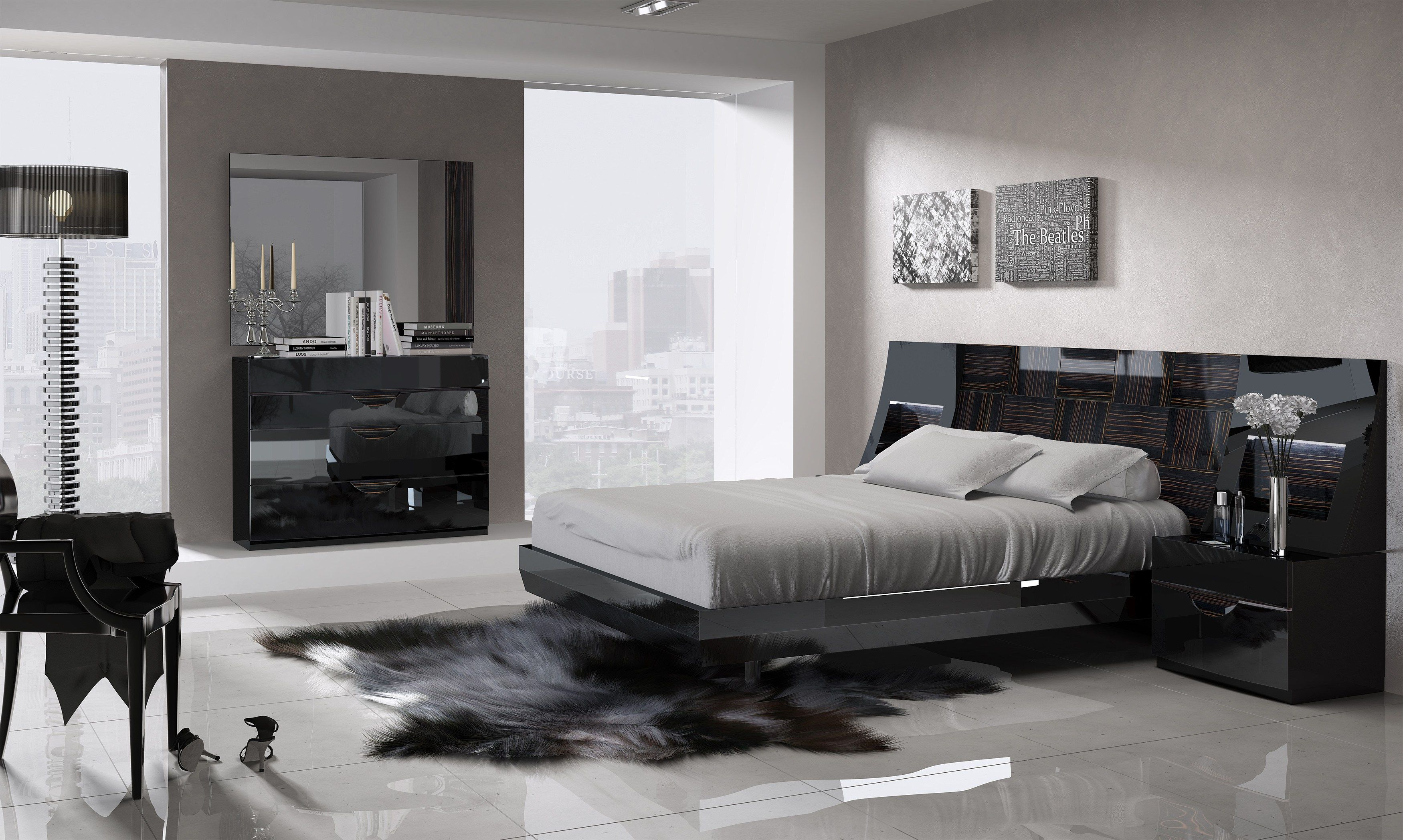 marbella platform bedroom in black high gloss lacquer finish with ...