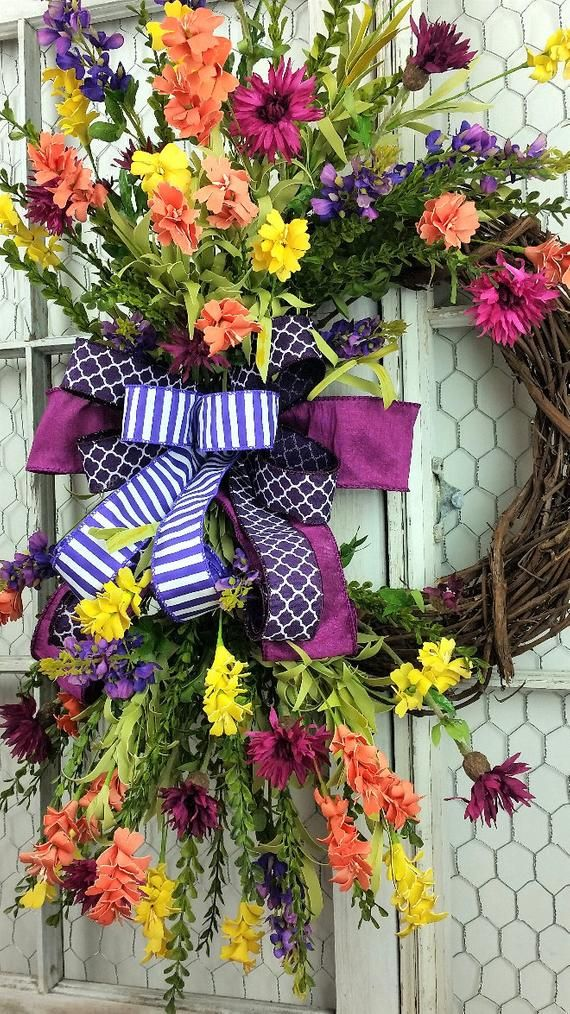 Photo of Summer wreath, summer wreaths for the front door, large summer wreaths for the front door, summer wreath monogram, Mother's Day gift, double door