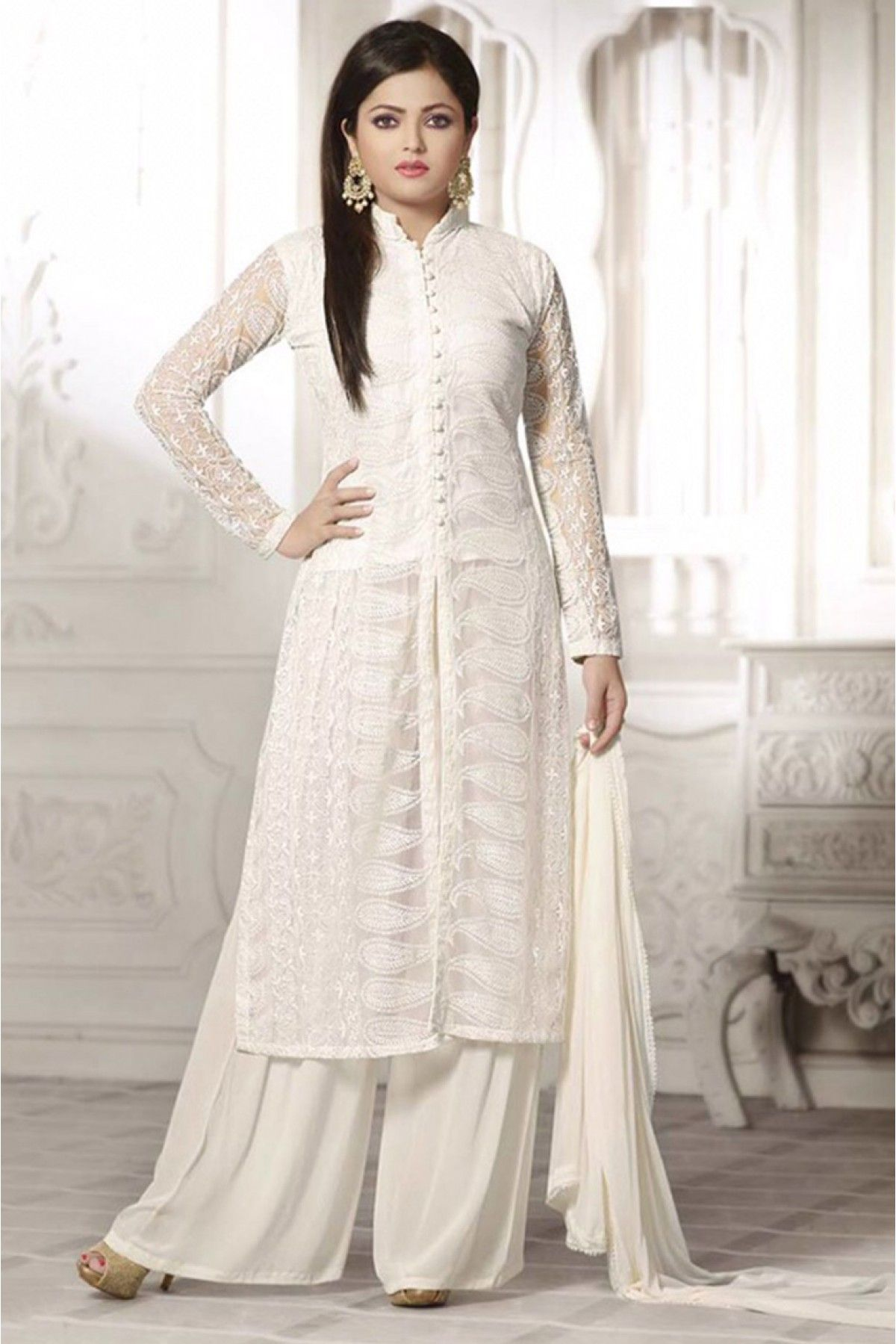 2f8ab7bb73 Georgette Palazzo Style Salwar Suit in White Colour.It comes with matching  Dupatta and Bottom.It is crafted with Embroidery.