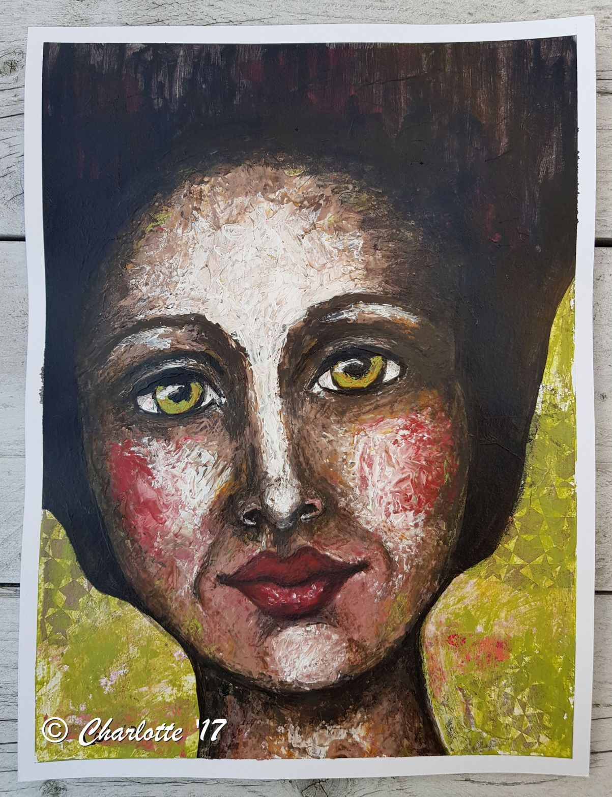 In the mood Mixed media girl by Charlotte Brondijk