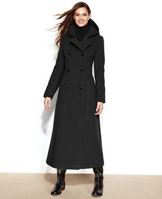 03038f1ccf Anne Klein Petite Double-Breasted Wool-Blend Hooded Maxi Coat - Coats -  Women - Macy s  169.99