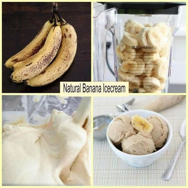 Make ice cream with one ingredient: a frozen banana!It's completely natural and guilt free. Take two to four ripe bananas, peel them and let them sit in the freezer for an hour, then slice them up and pop 'em in the blender! You'll end up with a smooth, yummy treat. If you're feeling frisky: add two tablespoons of peanut putter or chocolate chips.  | Fruit Hack