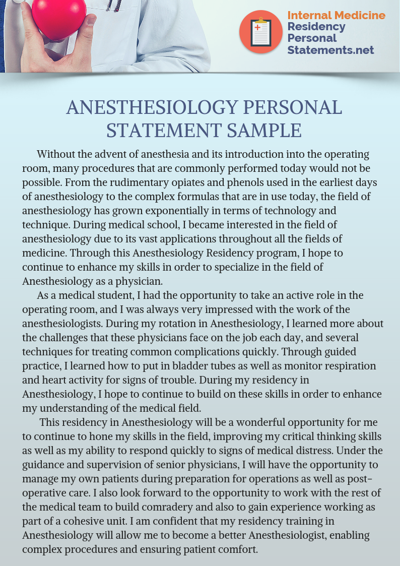 Highly Effective Anesthesiology Residency Personal Statement Medical Tip For