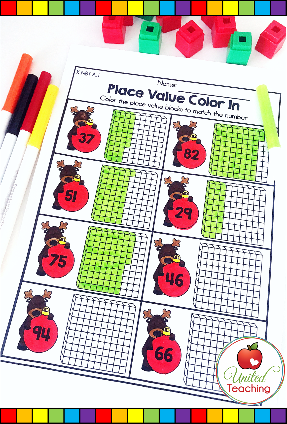 Color The Matching Number On The Place Value Block Great