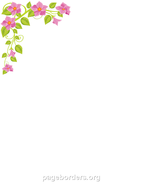 Printable flower corner border use the border in microsoft word or other programs for creating for Flower borders for word