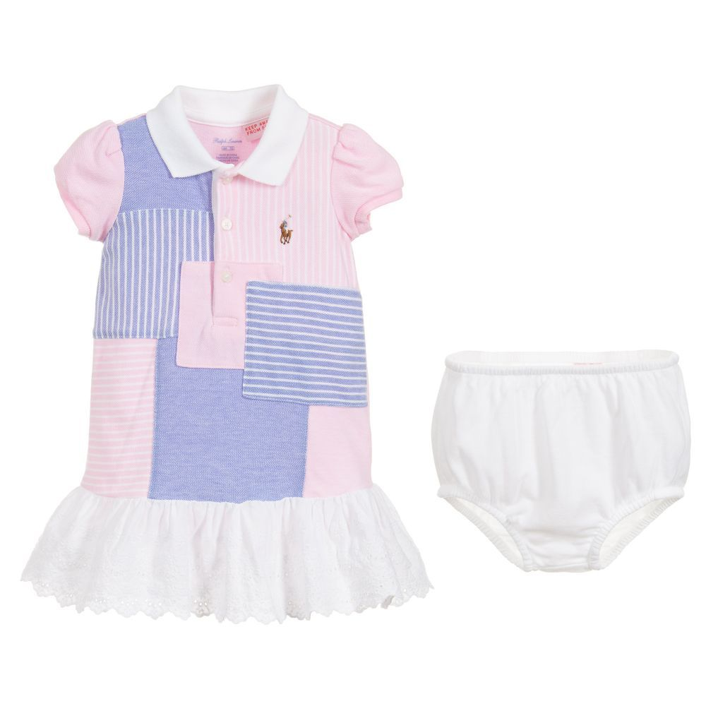 58ef8e2a54 Girls patchwork pink, blue and white polo dress set by Ralph Lauren ...