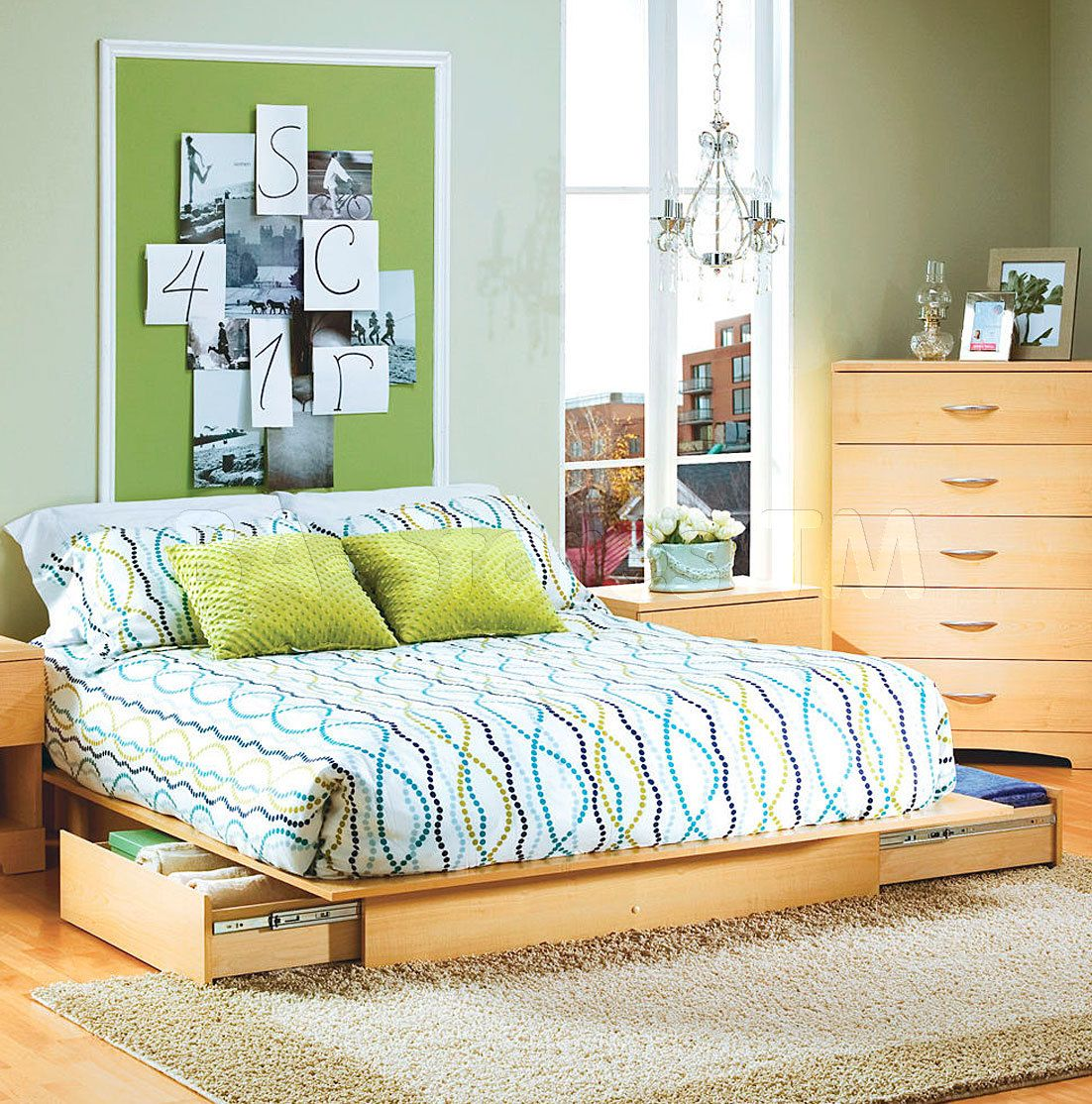 Step One Full Queen Size Platform Bed With Storage Drawers