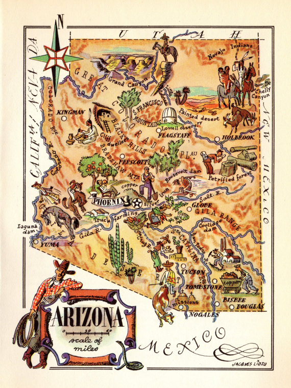 1940\'s Vintage ARIZONA Picture Map Pictorial State Map of Arizona ...