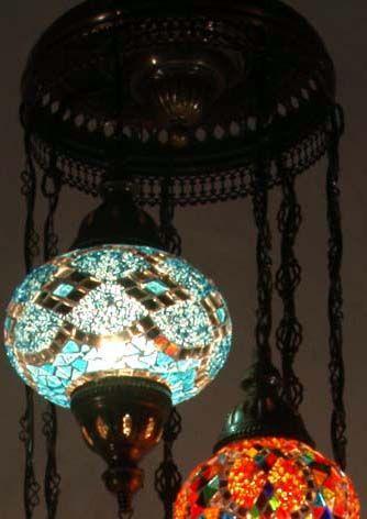 Lustre 'Lanternes' - Mosaïque de Verre, Miroirs et Métal